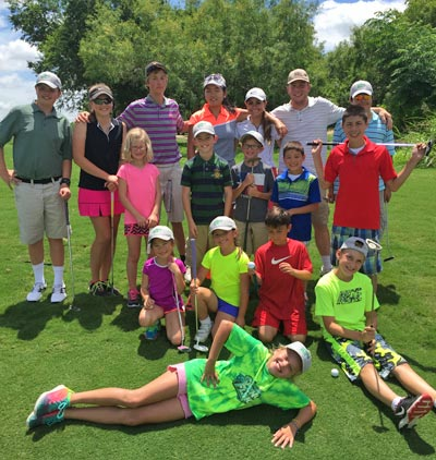 junior camp golfers and instructors